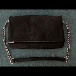 Express Black Shoulder Bag with Silver Accents